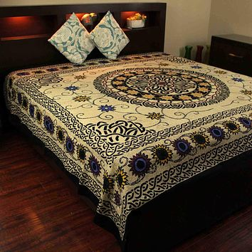 Cotton Celtic Knots Tapestry Mandala Sunflower Tablecloth Thin Coverlet Full