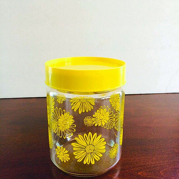 Vintage Glass Canister, Glass Storage Jar, Pyrex Gemco Yellow Daisy Glass Jar, Corning Glass Jar, Vintage Storage with Lid