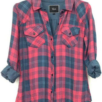 Rails Kendra Tencel Plaid Shirt in Red/Slate