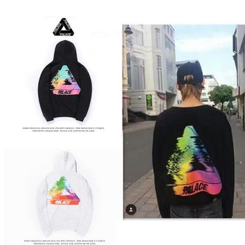 PALACE fuzzy color triangle cotton hooded sweater street skateboard jacket Black