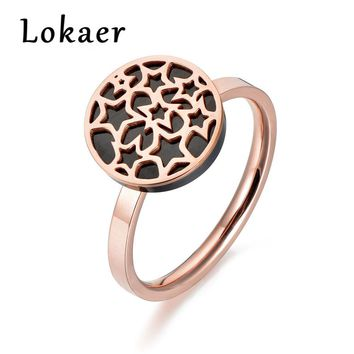 Lokaer Classic Rose Gold Color Geometry Star Ring Jewelry Trendy Titanium Steel Acrylic Wedding Rings For Women Anel R180300266R