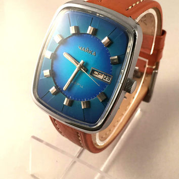 "EXCLUSIVE RARE ""Chaika RESONATOR"" Quartz men's watch. Blue dial men's, Soviet wristwatch.Hard to find watch! Gift for him"