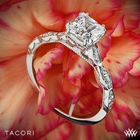 18k Yellow Gold Tacori Sculpted Crescent Elevated Crown for Princess Diamond Engagement Ring