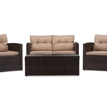 Baxton Studio Imperia Modern and Contemporary PE Rattan 4-Piece Outdoor Loveseat and Chairs in Beige Seating Cushions with Coffee Table Patio Set Set of 1
