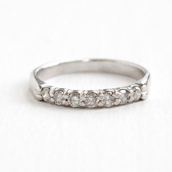 RTL Estate 14k White Gold 1/5 CTW Diamond Wedding Band Ring - Size 4 1/4 Bridal Fine Seven Diamond Classic Modern Jewelry