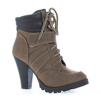 Lance Lace Up Lug Sole High Stacked Heel Padded Collar Ankle Boots