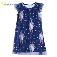 Sunshine Swing Unicorn Party Dress 2018 Toddler Baby Girls Knee-Length Casual A-line Dress Children Clothing