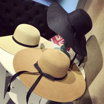 ESBONEJ Black Ribbon Big Floppy Straw Sun Hat