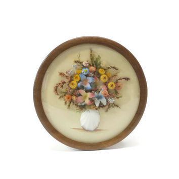 Vintage Dried Flower Bouquet, Round Frame, Convex Glass, Dried Flower Arrangement, Cottage Chic, Pink, Blue Green, Yellow