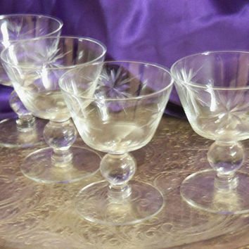 Star of Bethlehem Aperitif Glasses, Set of Four, Knob Stemmed, Mid Century Atomic Star Cut Crystal , Vintage 1950s, 60s Barware