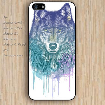 iPhone 5s 6 case cartoon wolf watercolor Dream colorful phone case iphone case,ipod case,samsung galaxy case available plastic rubber case waterproof B483