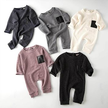 TouchCare 2017 Fall Autumn Embossed Long Sleeve Baby Jumpsuits Newborn Boys Girls Leather Pocket Romper Kids Infant Clothing