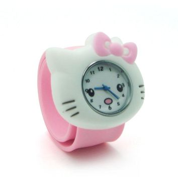 6 Candy Color Cute Hello Kitty Slap Watch Girls Cartoon Watch Kids Silicone Rubber Wrist Watch Children Christmas Cristmas Gift