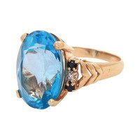Pre-owned 14Kt Gold Cocktail Ring with Aquamarine Stone