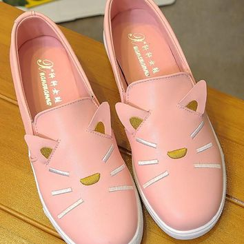 Pink Round Toe Cat Flat Print Cute Shoes