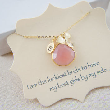 Personalized gold vermeil natural rose pink chalcedony necklace with orchid flower and small leaf, wedding, bridesmaids, gift