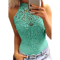 Sexy Pink Halter Crochet Lace Snap Cotton Candy Bodysuit Club Top