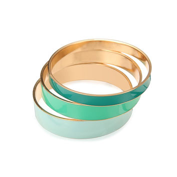 Set Of Three Bangles in Green