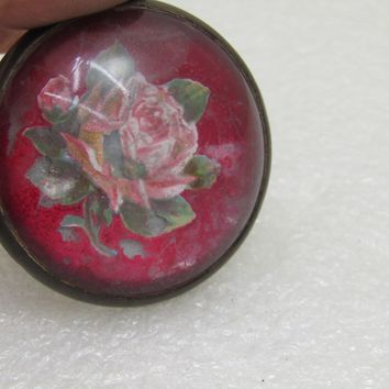 """Vintage Glass Rose Horse Bridle Button/Rosette Brooch, Red w/Rose, 1.5"""", 1920's-1930's"""