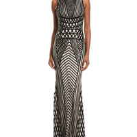 Rachel Gilbert Sequined Sleeveless Scoop-Back Gown