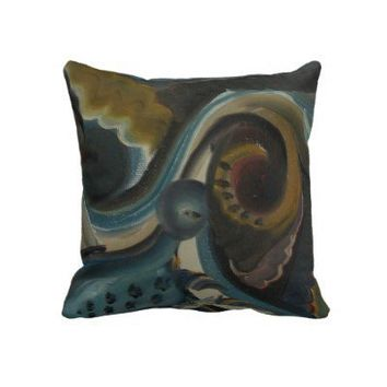 MOJO wing AbStRaCt ArT FUNKY painting Throw Pillows from Zazzle.com