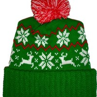 Guys - You make it rock! - Green Reindeer Snowflake Winter Beanie Pom Hat Cap Ugly X Mas Sweater
