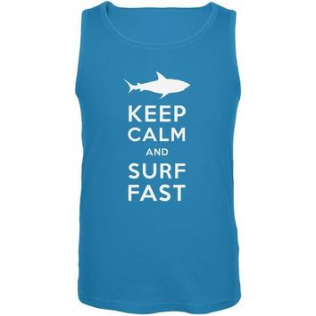 CREYCY8 Shark Keep Calm and Surf Fast Turquoise Adult Tank Top
