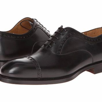 Magnanni Black Leather Captoe Men's Oxfords