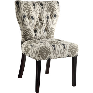Andrew Dining Chair, Medallion Ikat Grey Fabric