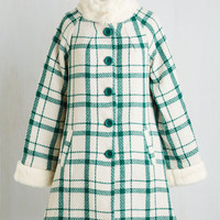 40s Long Long Sleeve Distinguished Quest Coat in Emerald Plaid