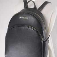 MICHAEL KORS ABBEY LEATHER LARGE MK BACKPACK SCHOOL BOOK BAG BLACK NWT