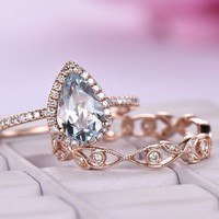 Pear Aquamarine Diamond Engagement Ring Sets Diamond Wedding Band 14K Rose Gold 6x8mm