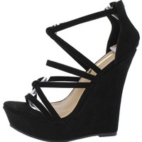 STELLA CROSS-STRAP WEDGE (BLACK)