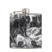 Retro black cat party drawing hip flask