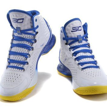 Under Armour Curry White -Blue Basketball Shoes