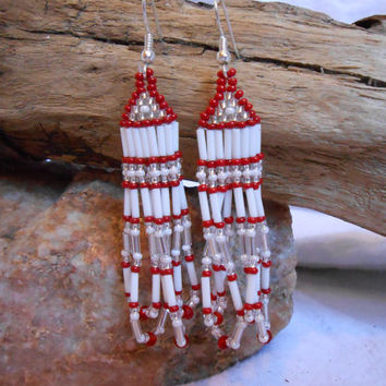Hand Beaded Brickstitch Seed Bead Earrings, Holiday Red, White and Silver, Red Swarovski Crystals, Handmade with Love