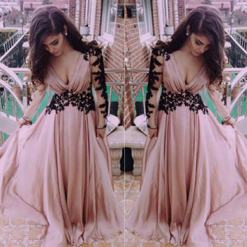 Womens Sexy Lace Embroidery Maxi Solid Pink Deep V Neck Dress
