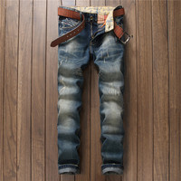 Ripped Holes Men's Fashion Casual Slim Jeans [9892502339]