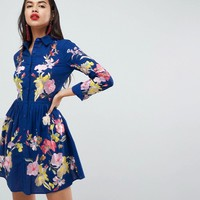 ASOS PREMIUM Embroidered Button Through Shirt Skater Dress at asos.com