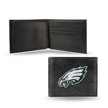DCCKIHN Philadelphia Eagles Wallet Premium Black LEATHER BillFold Embroidered Football