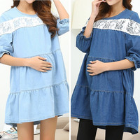 Clothing Ladies Maternity Dress Denim Cotton Plus Size Clothes For Pregnant  M-XL