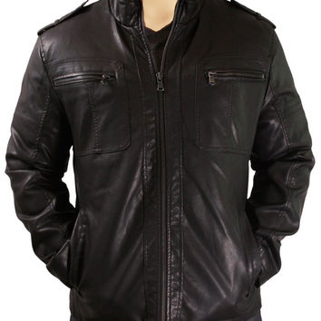 Black jacket with straight collar and shoulder epaulettes