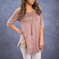 Smoky Room Top, Mauve