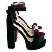 Tournament06M Green By Bamboo, 70's Retro Block Heel Platform Sandal w Ankle Strap