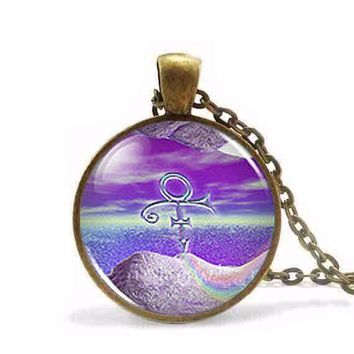 Steampunk 2017 New Vintage  RIP Ankh Sign Symbol Logo Purple Rain Necklace Pendant Charm Jewelry Gift Women Men Chain HZ1