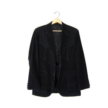 Black Corduroy Blazer Jacket. CIRCLE S 70s Mens Western Cowboy Suit Jacket Ranch wear Suit Button Up Rhinestones Mens size Medium large