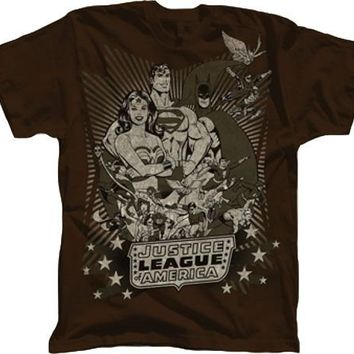 DC Comics Justice League Superheroes Brown T-shirt - Justice League America - | TV Store Online