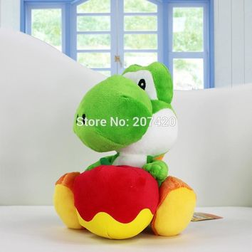 Super Mario party nes switch 6.5'' 17cm New Yoshi with Apple Plush Doll Toy  Yoshi Soft Stuffed Plush Toy Christmas Gift AT_80_8