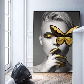 Modern Black White Sexy Charming Woman Lip Beauty Canvas Painting Fashion Butterfly Wall Art Picture For Living Room Home Decor