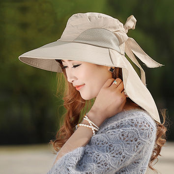 Fashion large brimmed sun hats Foldable womens sunhats Self-tie